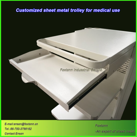 Customized Hospital Nursing Cart Sheet Metal Trolley for Medical Treatment